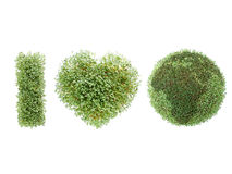 I love Earth. Acronym created from watercress-grown symbols over white background Stock Image