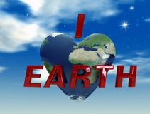 I love earth. Heart with eath mapping on sky background - digital art work Stock Photos