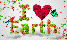 I love Earth leaves particles 3D. Digital art Stock Photography