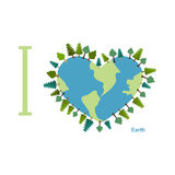 I love Earth. Planet sweetheart with trees. Vector illustration Royalty Free Stock Photos