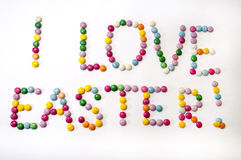 I love Easter sign of the colored chocolate candies Royalty Free Stock Image