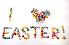 I love Easter sign of the colored chocolate candies Stock Images