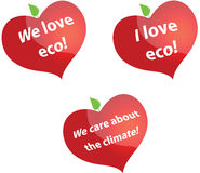 I love eco. A set of designed hearts with texts Stock Image
