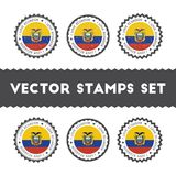 I Love Ecuador vector stamps set. Retro patriotic country flag badges. National flags vintage round signs Stock Photo