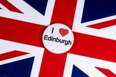 I Love Edinburgh. LONDON, UK - APRIL 27TH 2018: An I Love Edinburgh badge pictured over the UK flag, on 27th April 2018 royalty free stock photography