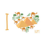 I love Egypt. Symbol of  heart of countrys attractions: pyramids Stock Image