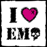 I love Emo. Abstract Emo design with pink and black, ideal for T-shirts Stock Photo