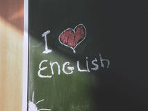 `I love English` inscription on blackboard Stock Photography