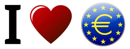 I Love Euro. With red heart, blue button, yellow stars on white background Stock Images