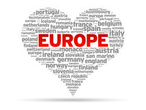 I Love Europe. Heart Illustration on white background Royalty Free Stock Images