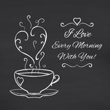I love every morning with you. Blackboard Royalty Free Stock Photo