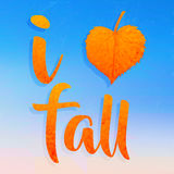 I love fall. Golden autumn leaf heart shape romantic fall season Royalty Free Stock Photos