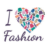 I love fashion illustration. Heart is composed of fashionable clothes, shoes and accessories Stock Photos