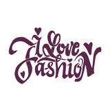 I love fashion. Unique Custom Characters. Hand Lettering for Designs - logos, badges, postcards, posters, prints. Modern royalty free illustration