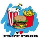 I love fast food card design Royalty Free Stock Photo