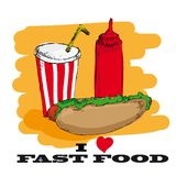 I love fast food card design Royalty Free Stock Photography