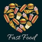 I love fast food heart shape emblem Royalty Free Stock Photo