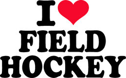 I love Field Hockey. With red heart Stock Image