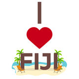 I love Fiji. Travel. Palm, summer, lounge chair. Vector flat illustration. Stock Image