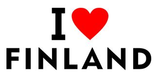 I love Finland. Country text red heart message Stock Image