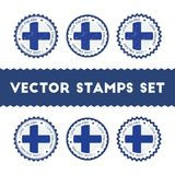 I Love Finland vector stamps set. Retro patriotic country flag badges. National flags vintage round signs Stock Image