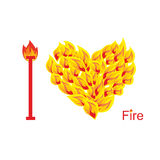 I love fire. Symbol of  heart of  flame. Flaming heart. Vector i. Llustration Stock Photos