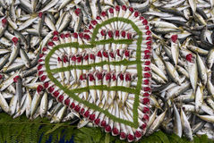 I love fish. Small fresh fish with red gills decoratively arranged in Galatasaray fish market - Istanbul, Turkey Royalty Free Stock Photo
