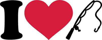 I love fishing rod. With red heart Royalty Free Stock Photography