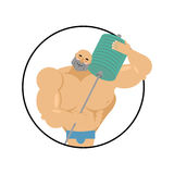 I love fitness. athlete hugs barbell. Bodybuilder and sports equ Royalty Free Stock Images