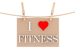 I Love Fitness with heart hanging with clothespins Royalty Free Stock Images