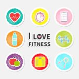 I love fitness round icon set isolated Timer whater, dumbbell, apple, jumping rope, scale, note heart Flat design. Vector illustration Stock Images