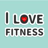 I love fitness text with heart sign Blue Royalty Free Stock Photo