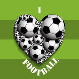 I love football. Illustration of soccer ball in the heart as a symbol of the love of football Royalty Free Stock Images