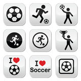 I love football or soccer, man kicking ball  buttons set. Football black buttons set with isolated on white Royalty Free Stock Images