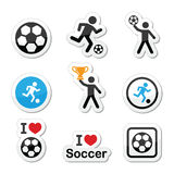 I love football or soccer, man kicking ball  icons set. Football colorful icons set with isolated on white Stock Photography