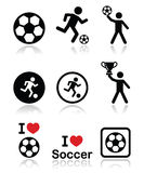 I love football or soccer vector icons set Royalty Free Stock Images