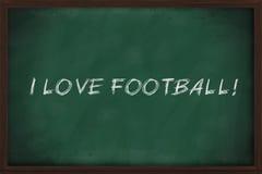 I love football. Written on green chalkboard stock images