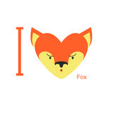I love Fox. Cute head foxes in  shape of a heart. Animal  Stock Images