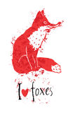 I love foxes card with a red fox Stock Image
