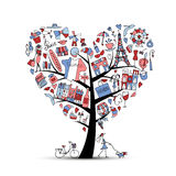 I love France, art tree. Sketch for your design Royalty Free Stock Image