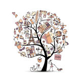 I love France, art tree. Sketch for your design Stock Images