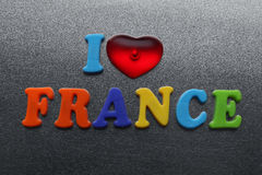I love france spelled out using colored fridge magnets Stock Images