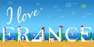 I love France. Summer beach artistic font Stock Photos