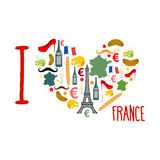 I love France. Traditional French national set of icons in form Stock Photography