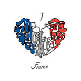 I love France. Traditional French national set of icons in form Royalty Free Stock Photography