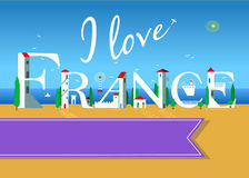 I love France. Travel card Royalty Free Stock Images