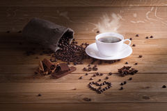 I love fresh coffee. I like to drink coffee in the morning Royalty Free Stock Image