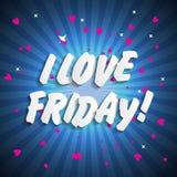 I Love Friday Background Vector Illustration Royalty Free Stock Photography