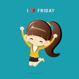 I Love Friday concept with happy businesswoman jumping in the air cheerfully. Vector Illustration Stock Photos