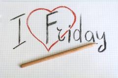 I love friday. Creative design of i  love friday Stock Photos